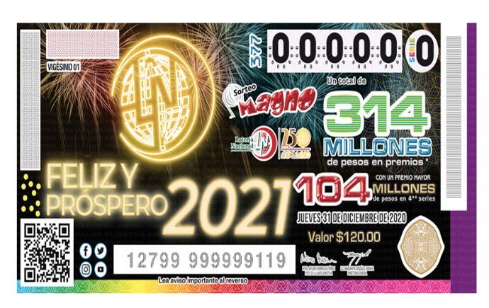 Billete conmemorativo al Año Nuevo 2021 de la Lotería Nacional, que lo celebrará dando 324 millones de pesos