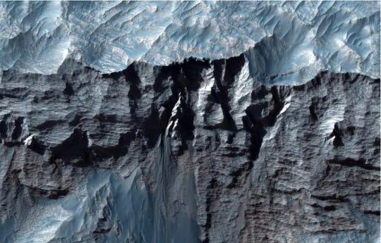 Una vista de cerca de Valles Marineris de Marte, el cañón más grande del sistema solar.